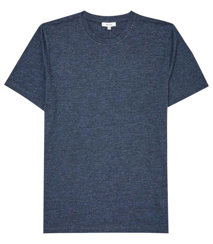 Reiss Gregg - Melange Crew Neck T-shirt in Indigo, Mens, Size XXL