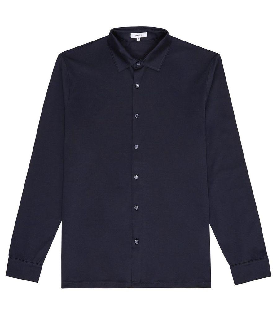 Reiss Chapter - Mercerised Cotton Shirt in Navy, Mens, Size XXL