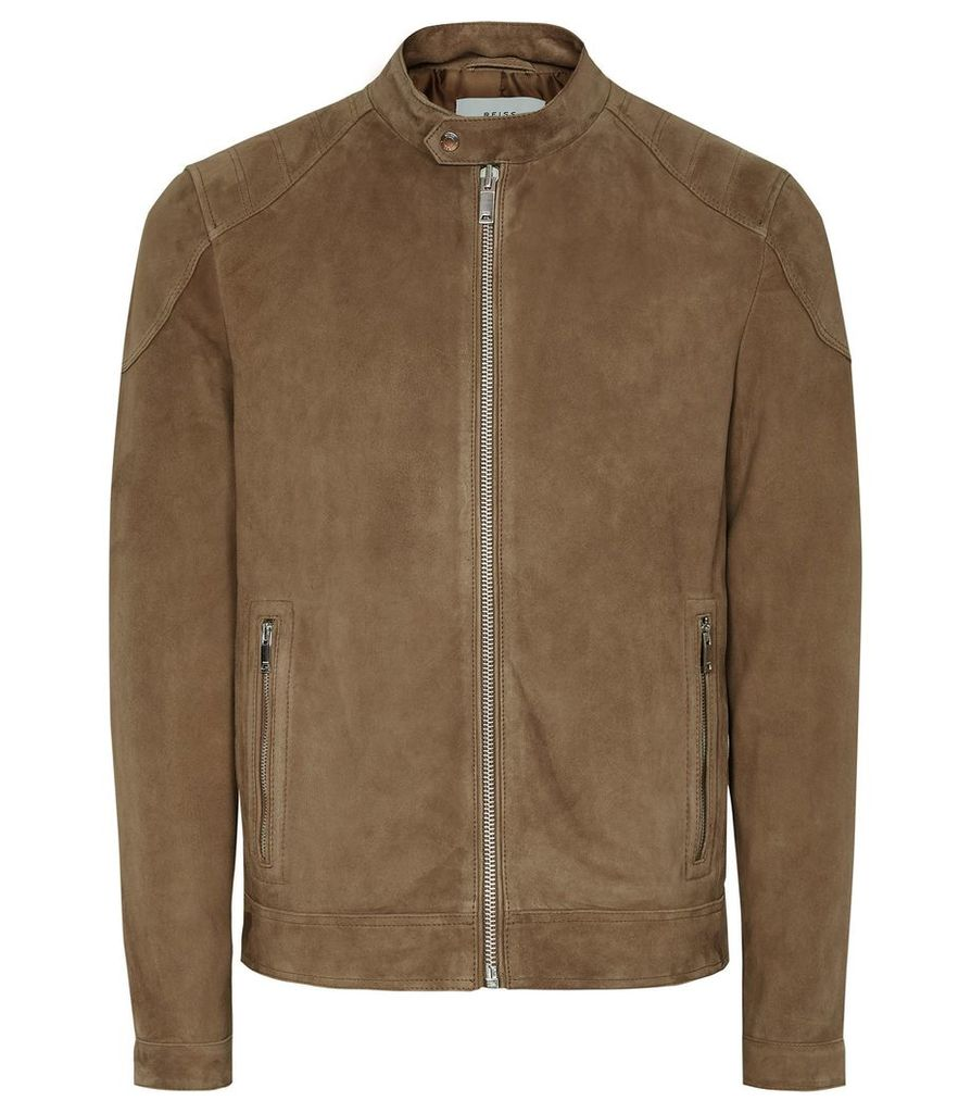 Reiss Pyke - Suede Quilted Jacket in Tan, Mens, Size XL