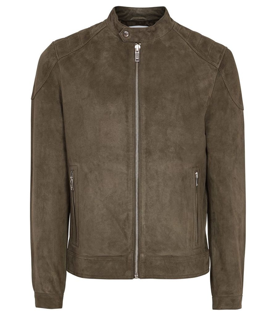 Reiss Pyke - Suede Quilted Jacket in Mushroom, Mens, Size XXL