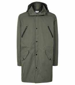 Reiss Flint - Longline Hooded Parka in Khaki, Mens, Size XXL