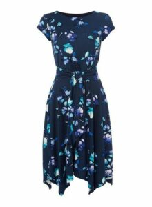 Womens *Roman Originals Navy Hanky Hem Floral Print Skater Dress- Navy, Navy