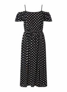 Womens *Roman Originals Black Polka Dot Midi Skater Dress- Black, Black