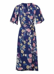 Womens *Izabel London Navy Tie Side Wrap Dress- Navy, Navy