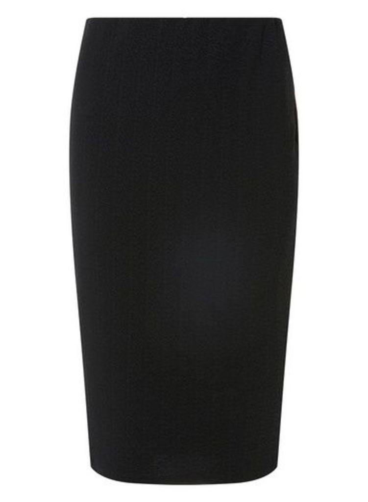 Womens Black Textured Pencil Skirt- Black, Black