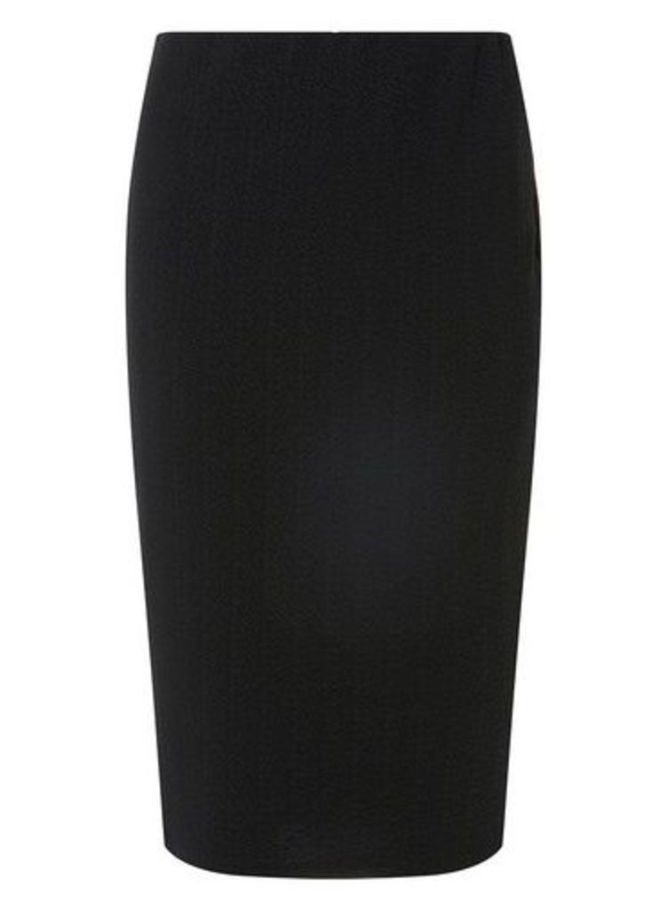 Womens Black Textured Pencil Skirt- Black, Black