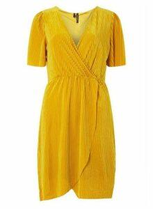 Womens **Vero Moda Yellow Velvet Wrap Dress- Yellow, Yellow