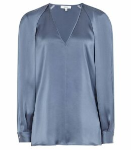 Reiss Cora - V-neck Blouse in Lagoon Blue, Womens, Size 14