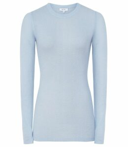 Reiss Connie - Wool Blend Jumper in Pale Blue, Womens, Size XL