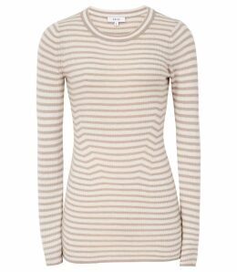 Reiss Chartwell - Striped Long Sleeved Jumper in Neutral, Womens, Size XXL
