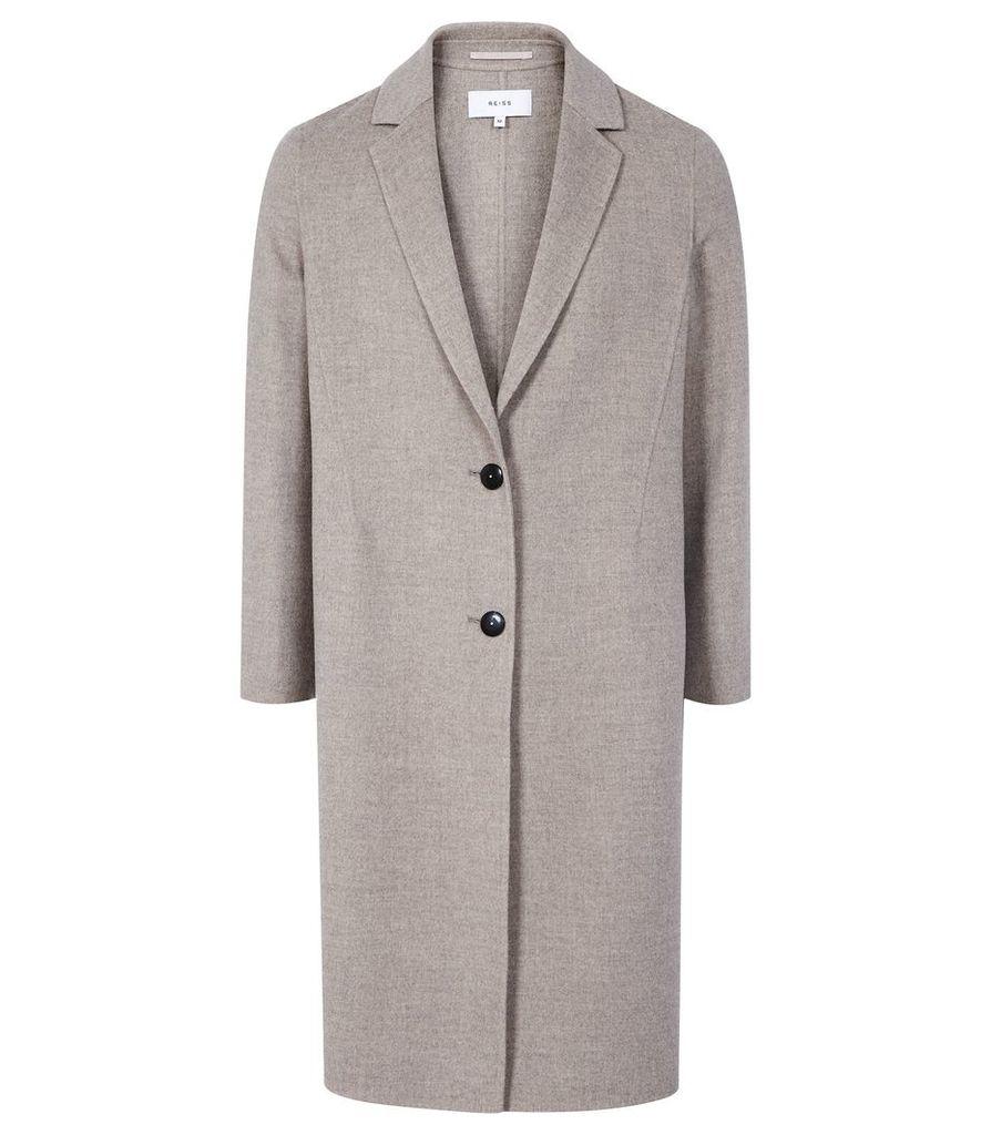 Reiss Berkley - Blind Seam Longline Overcoat in Oatmeal, Womens, Size XL