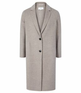 Reiss Berkley - Blind Seam Longline Overcoat in Oatmeal, Womens, Size XL