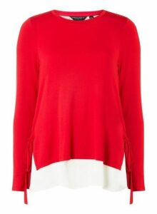 Womens Red Tie Side 2-In-1 Top- Red, Red