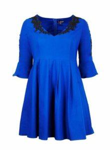 **Lovedrobe Cobalt Blue Skater Dress, Royal Blue