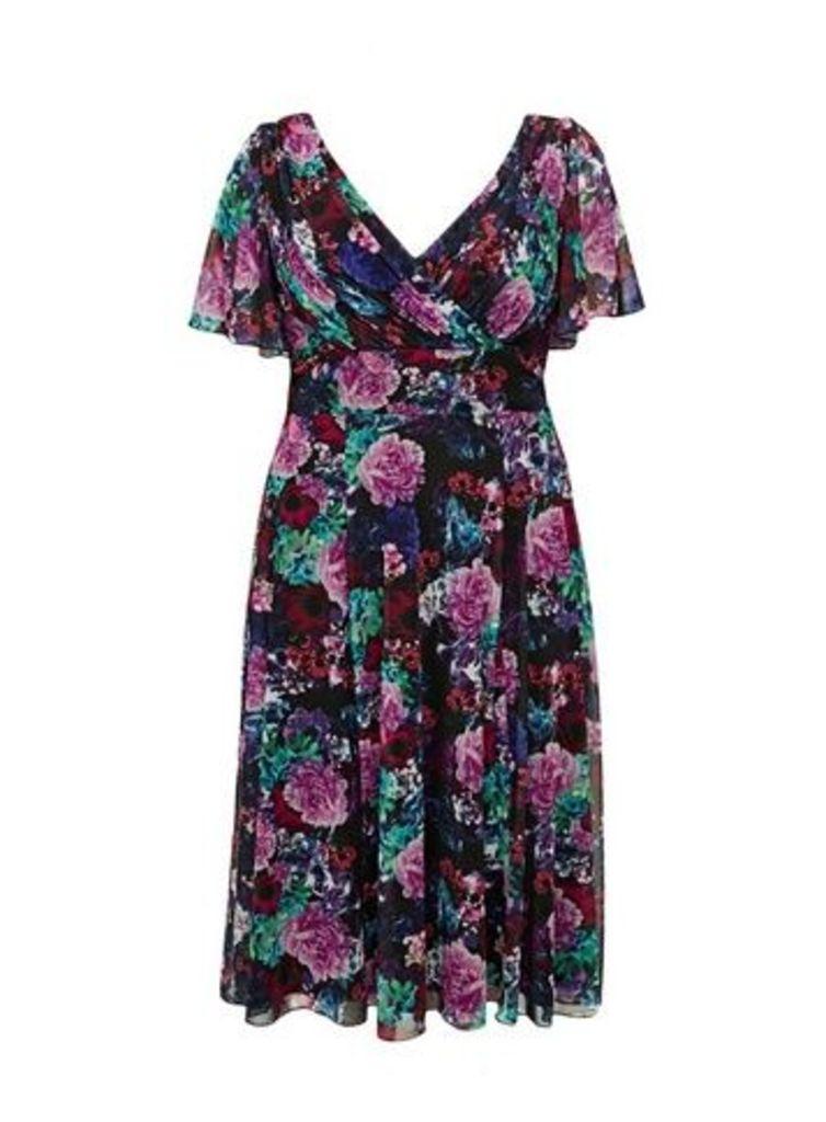 **Scarlett & Jo Purple Angel Sleeve Midi Dress, Purple