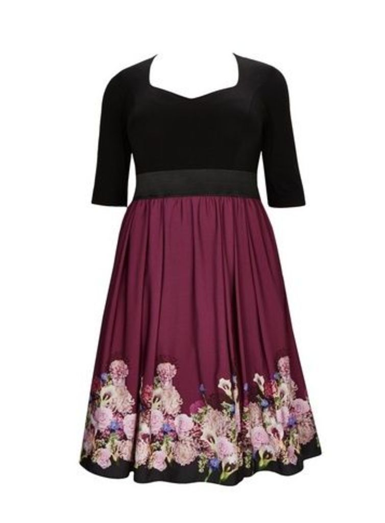 **Scarlett & Jo Black Sweetheart 2-In-1 Dress, Burgundy