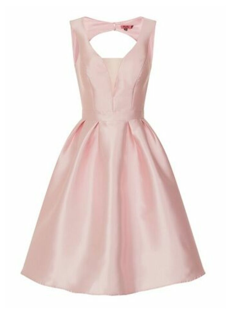 **Chi Chi London Pink Open Back Skater Dress, Pale Pink