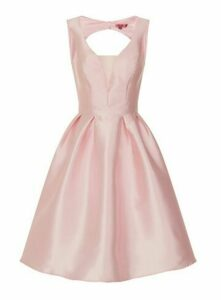 **Chi Chi London Pink Open Back Skater Dress, Pale Pink