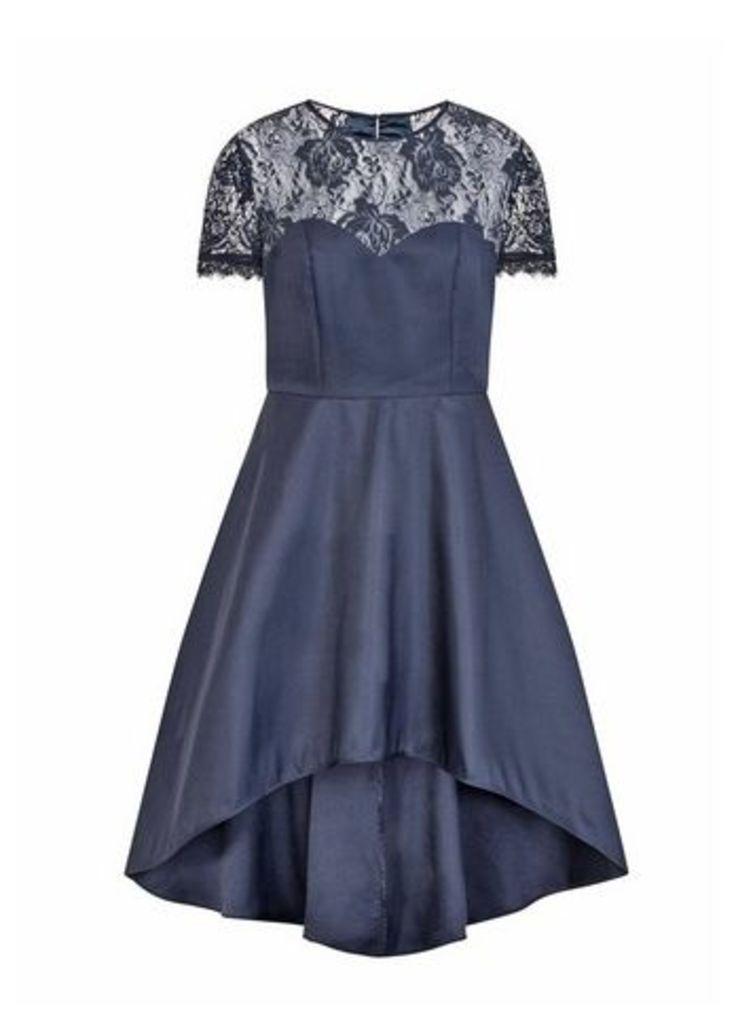 **Chi Chi London Navy Blue Lace Dip Hem Skater Dress, Navy