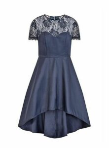 **Chi Chi London Navy Blue Lace Dip Hem Skater Dress, Navy