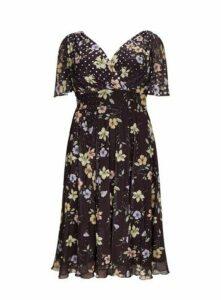 **Scarlett & Jo Marilyn Black Float Sleeve Midi Skater Dress, Royal Blue