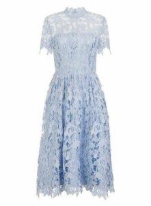 **Chi Chi London Blue Crochet Midi Skater Dress, Light Blue