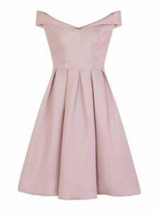 **Chi Chi London Pink Bardot Midi Skater Dress, Pink