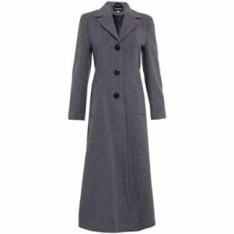 De La Creme  Double Single Fitted Long Coat  women's Coat in Grey