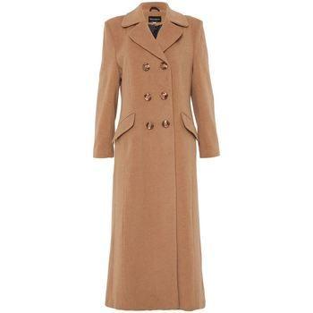 De La Creme  Double Breasted Fitted Long Coat  women's Trench Coat in Beige