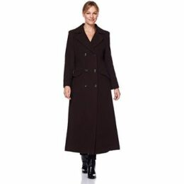De La Creme  Double Breasted Fitted Long Coat  women's Coat in Brown