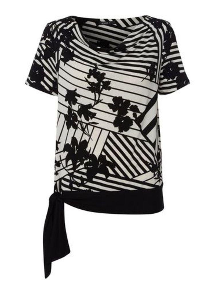 Womens *Roman Originals Monochrome Side Tie Top- Black, Black