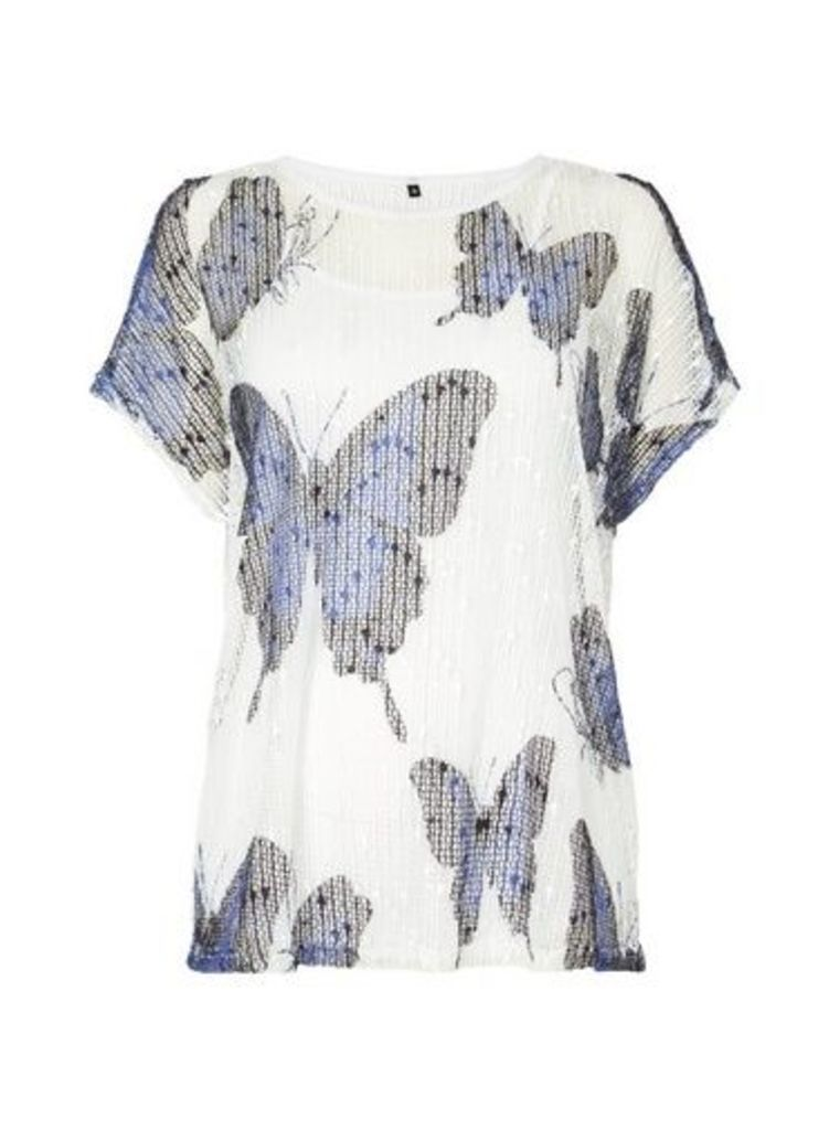 Womens *Roman Originals Butterfly Print Jersey Knitted Top- Ivory, Ivory