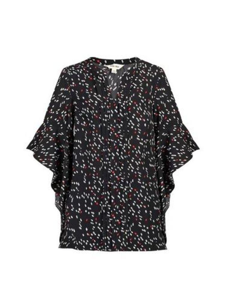 Womens *Jolie Moi Black Pattern Frill Blouse- Black, Black