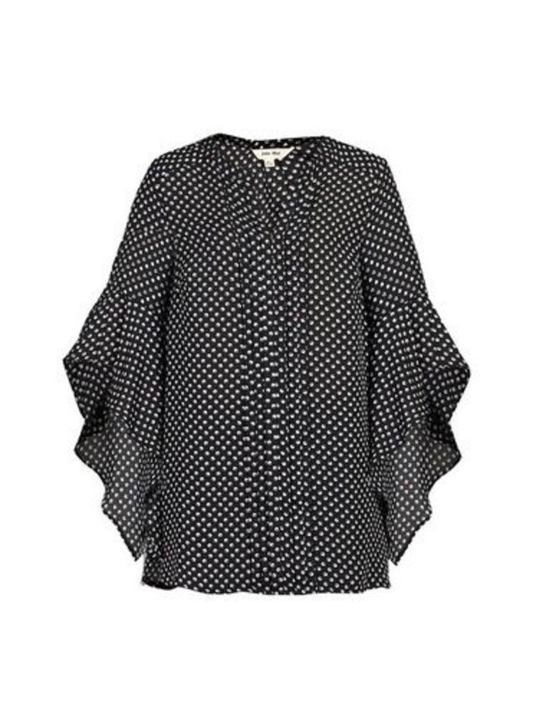 Womens *Jolie Moi Black Polka Dot Frill Blouse- Black, Black