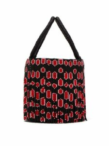 Sensi Studio - Leopard Beaded Tassel Bucket Bag - Womens - Black Red