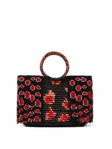 Sensi Studio - Bead Embellished Toquilla Straw Bag - Womens - Black Red