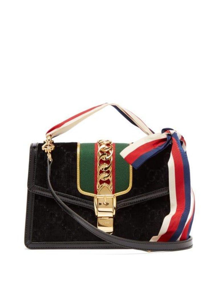 Gucci - Sylvie Small Velvet Shoulder Bag - Womens - Black