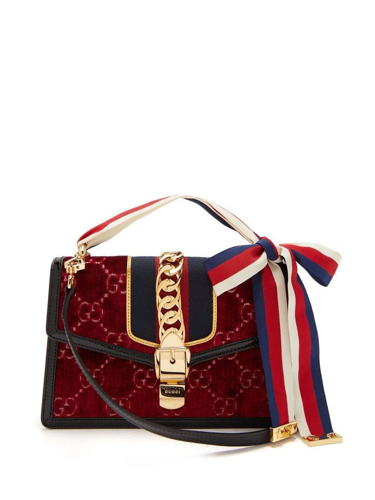Gucci - Sylvie Small Velvet Shoulder Bag - Womens - Burgundy