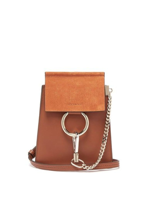 Chloé - Faye Mini Suede Panel Leather Cross Body Bag - Womens - Tan
