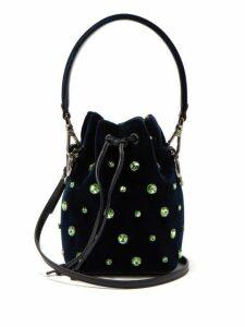 Fendi - Mon Tresor Crystal Embellished Velvet Bucket Bag - Womens - Navy Multi