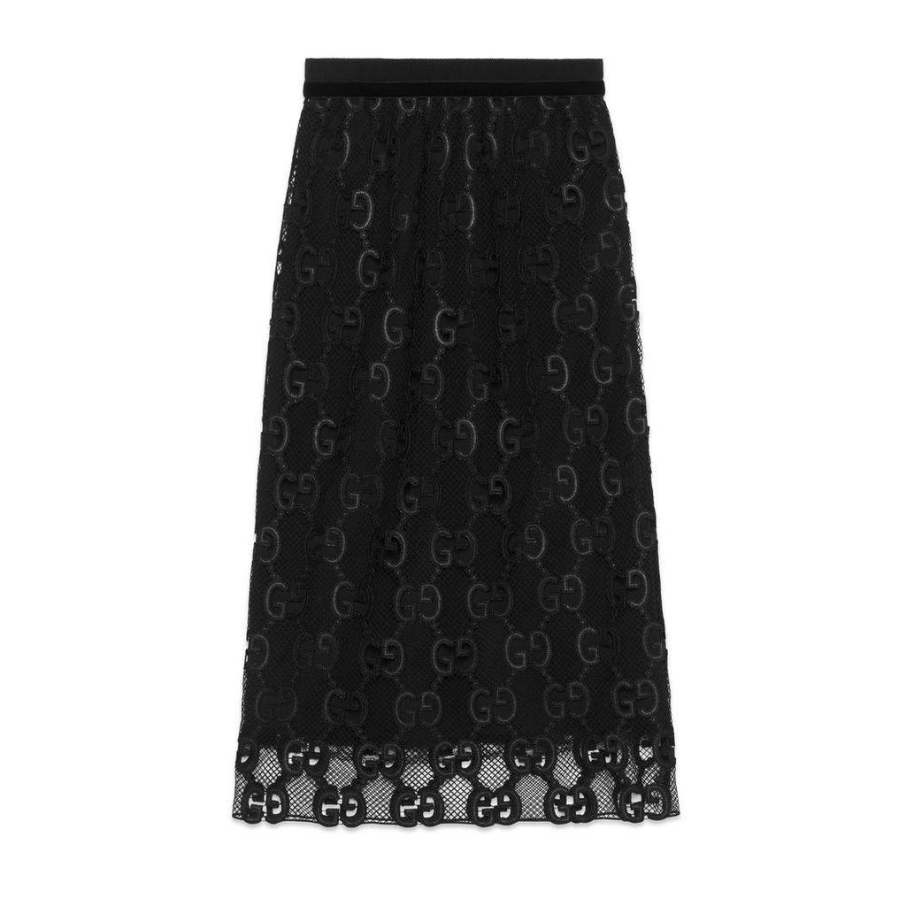 GG leather macramé skirt