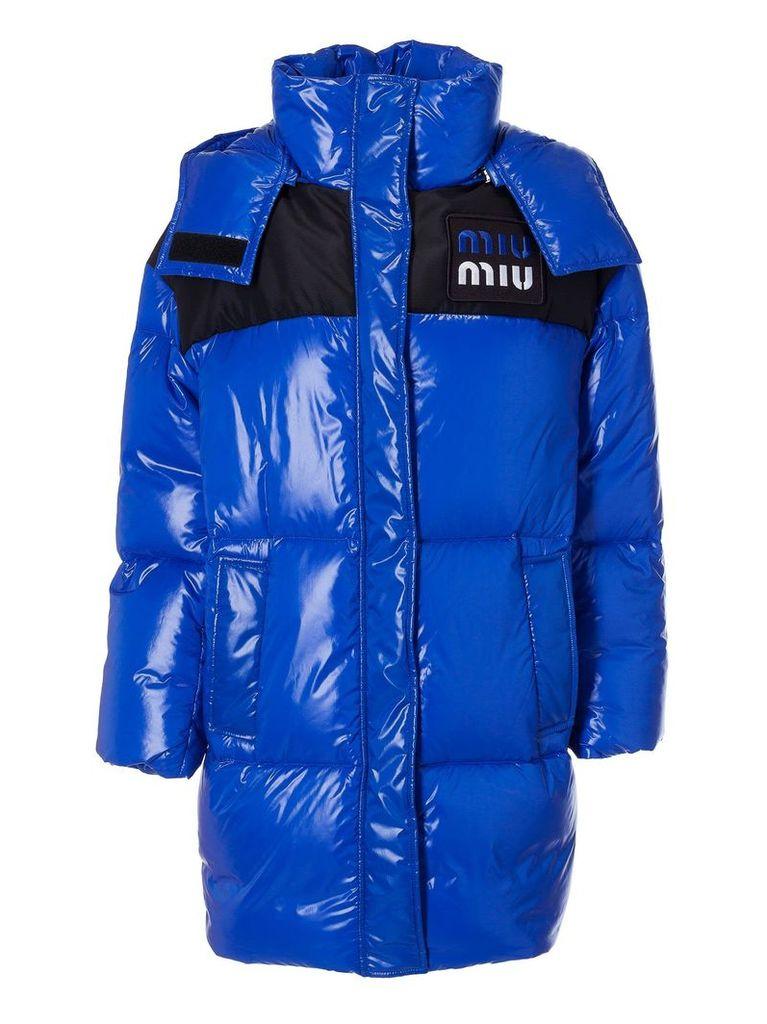 Miu Miu Long Quilted Long Logo Patch Padded Jacket