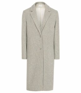 Reiss Bentley - Checked Overcoat in Blue/grey, Womens, Size 14