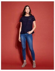 French Navy Primrose Peplum T-Shirt  Size 16