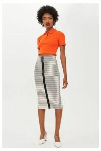 Womens Hook And Eye Stripe Tube Skirt - Monochrome, Monochrome