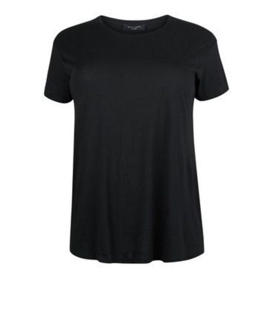 Curves Black Cotton Blend T-Shirt New Look