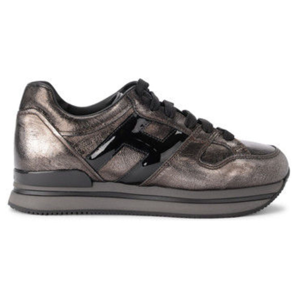 Hogan  H222 idark silver leather and black patent leather sneaker  women's Shoes (Trainers) in Grey