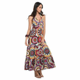 Anabelle  Printed dress, backless  women's Long Dress in Multicolour