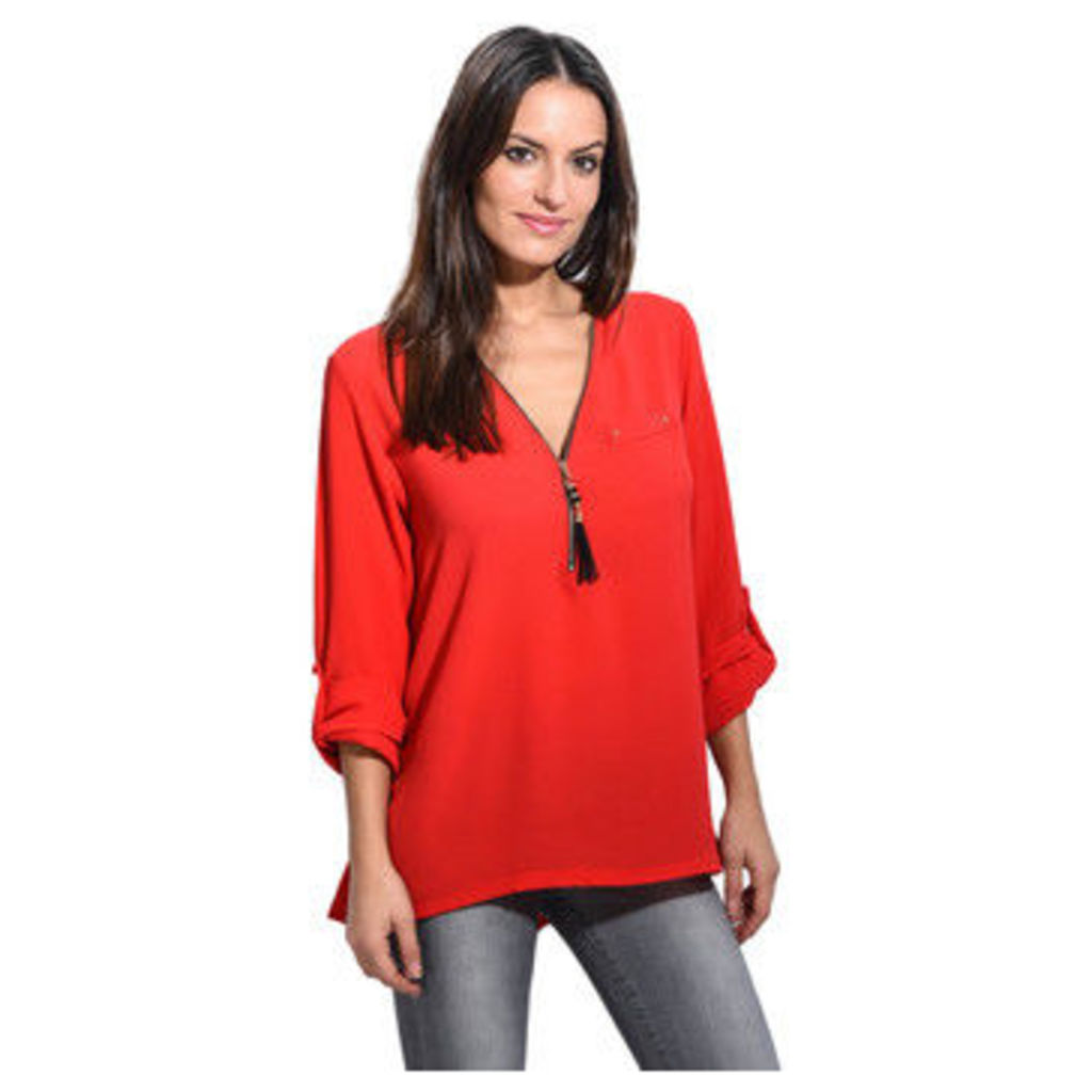 Anabelle  Zipped neckline blouse  women's Blouse in Red