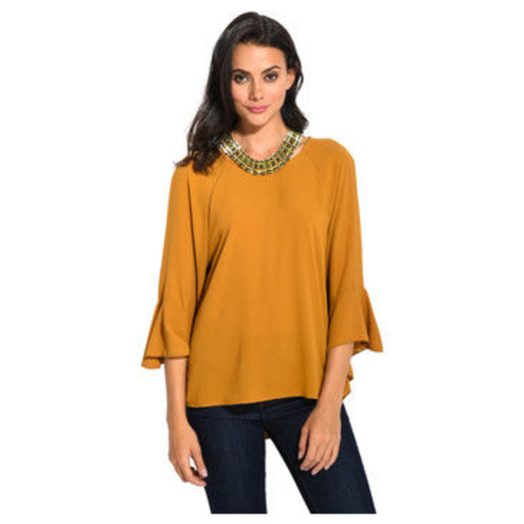 Anabelle  3/4 sleeves draped blouse  women's Blouse in Yellow